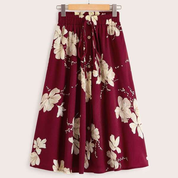 Floral Print Knot Button Front Skirt, Burgundy