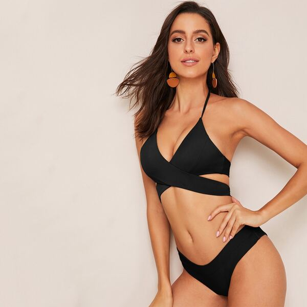Criss Cross Halter Top With Cheeky Bikini Set, Black