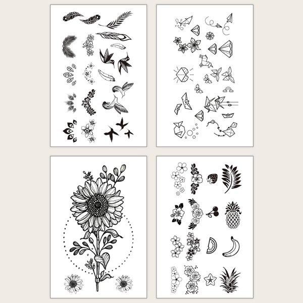Sunflower & Bird Tattoo Sticker 4sheets, Black