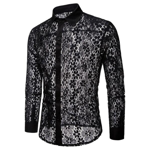 Men Lace Panel Sheer Single Breasted Shirt, Black