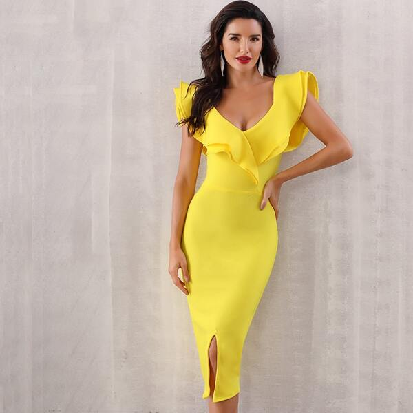 Adyce Ruffle Trim Split Hem Bodycon Dress, Yellow bright