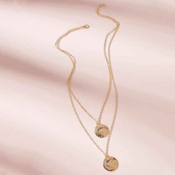 Coin Charm Double Layered Chain Necklace 1pc