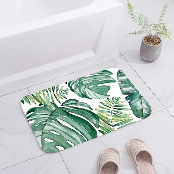 Turtle Back Leaf Print Floor Mat, Green