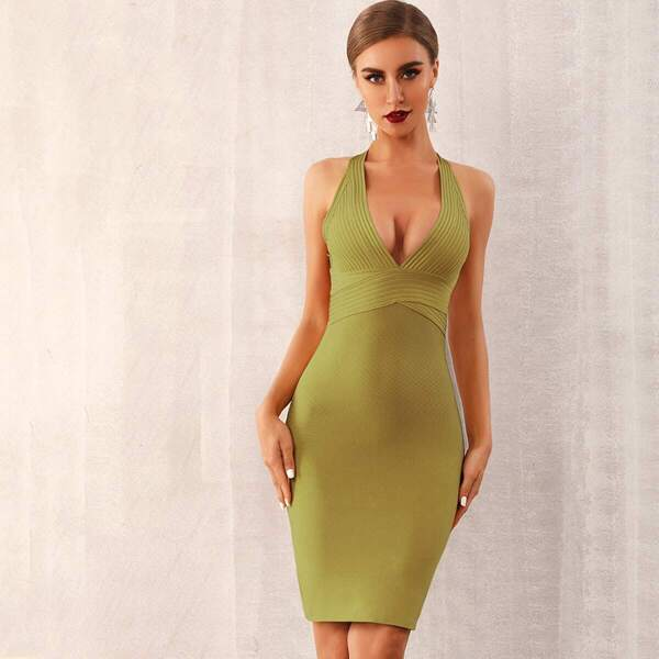 Adyce Solid Plunge Neck Backless Bandage Dress, Green
