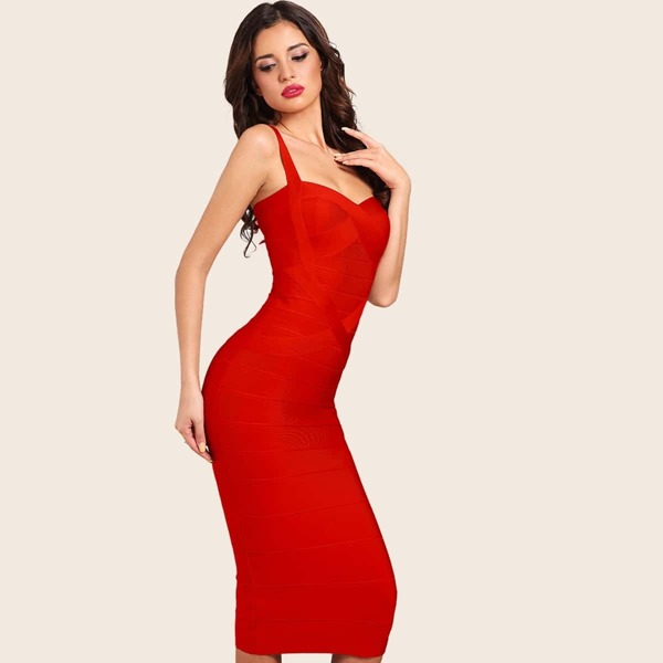 Adyce Solid Zip Back Bandage Bodycon Slip Dress, Red bright