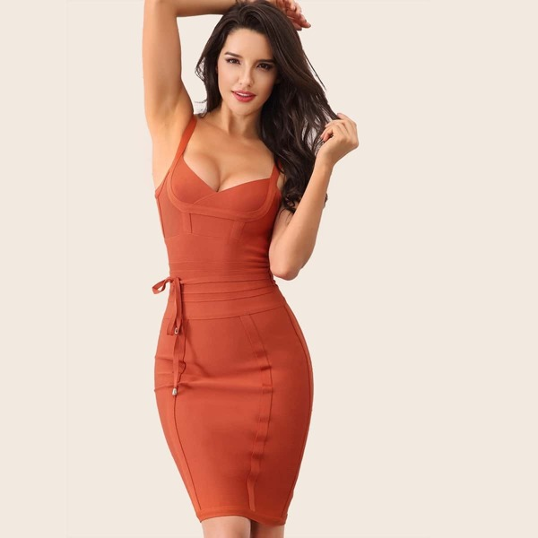 Adyce Zip Back Belted Midi Bandage Dress, Orange