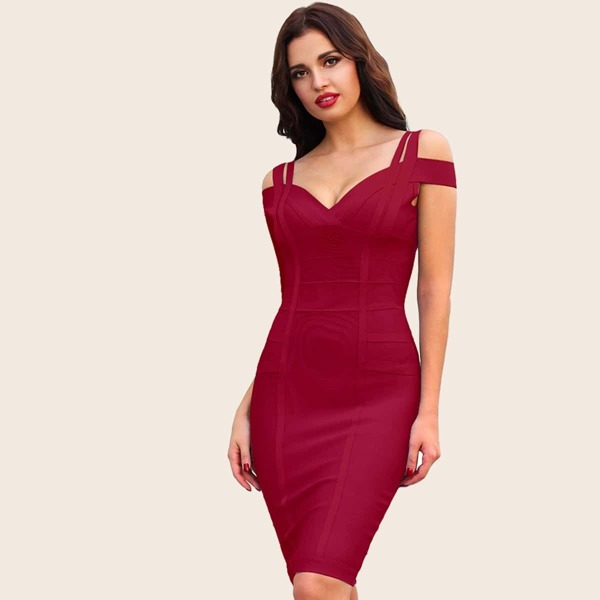 Adyce Cold Shoulder Sweetheart Neck Bandage Dress, Burgundy