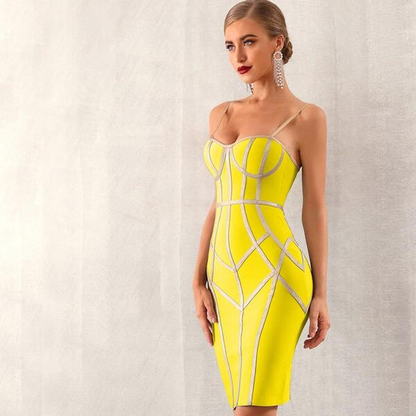 Adyce Zip Back Bustier Bandage Slip Dress, Yellow bright