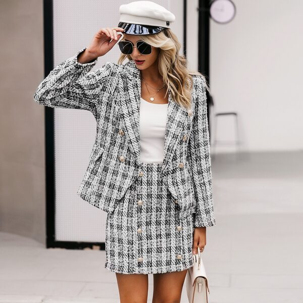 Double Breasted Plaid Tweed Blazer, Black and white