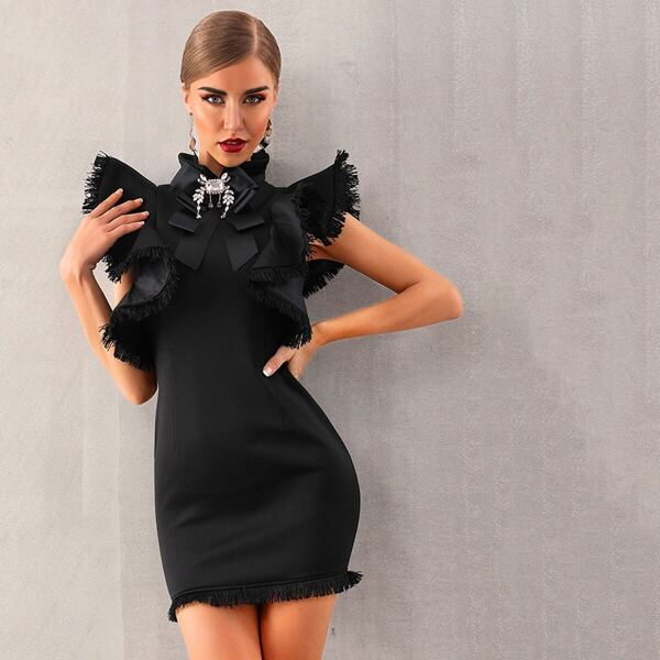 Adyce Raw Hem Exaggerated Ruffle Rhinestone Detail Dress, Black