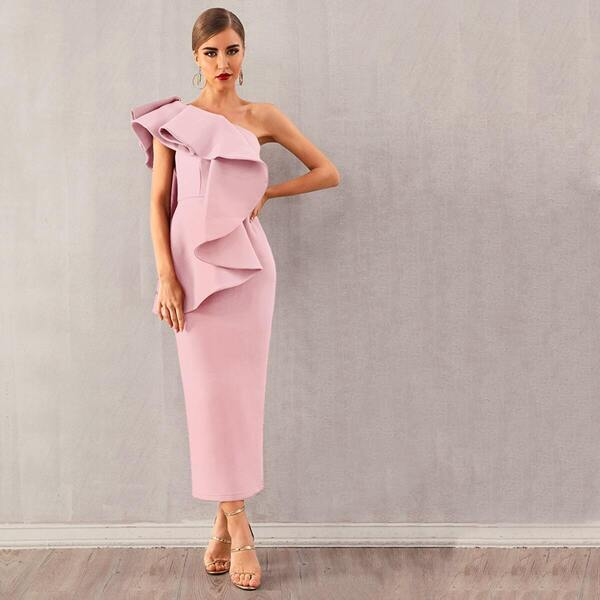 Adyce Exaggerated Ruffle One Shoulder Pencil Dress, Pink pastel