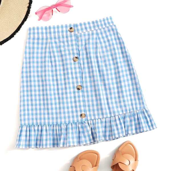 Gingham Button Front Ruffle Hem Skirt
