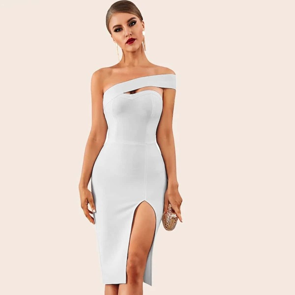 Adyce Solid One Shoulder Split Thigh Pencil Dress, White