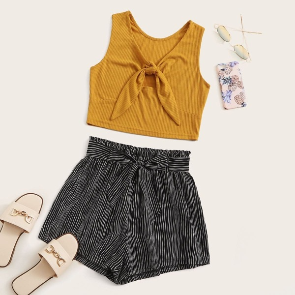 Tie Front Rib-Knit Crop Top With Striped Self Tie Shorts