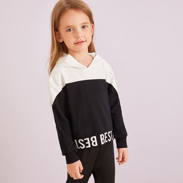 Toddler Girls Cut And Sew Letter Print Hooded Sweatshirt, Black and white