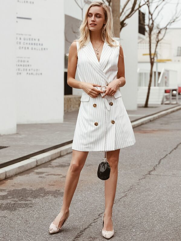 Simplee Striped Double Button Sleeve Blazer Dress Without Belt, White