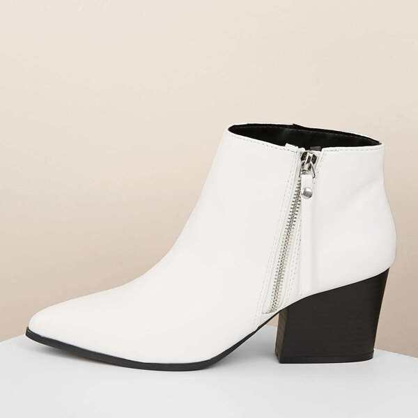 Side Zipper Pointy Toe Chunky Heel Ankle Boots, White