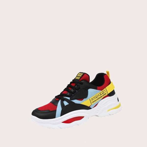 Men Color Block Chunky Sole Trainers