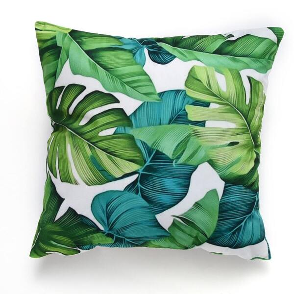 Plant Print Cushion Cover, Green