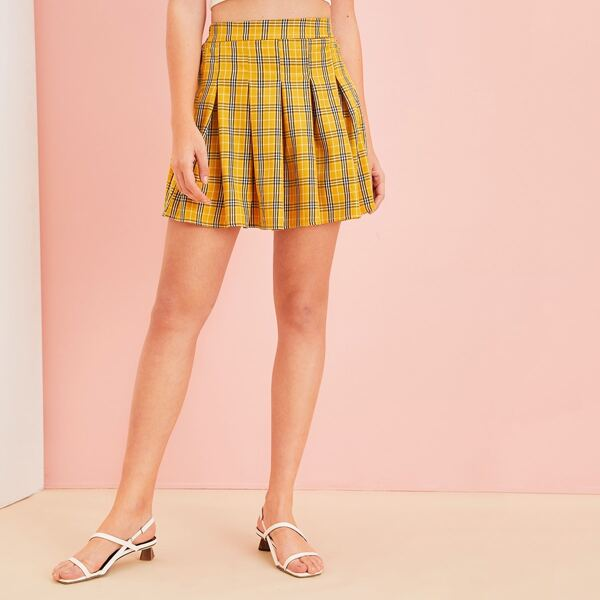 Plaid Elastic Waist Pleated Skirt, Yellow bright