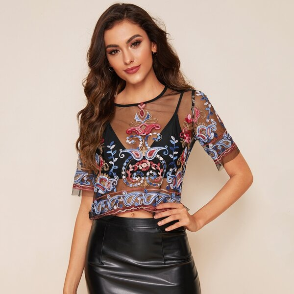 Sheer Embroidered Paisley Print Mesh Blouse