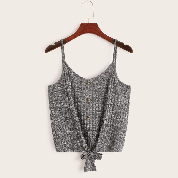 Knot Font Button Front Rib-knit Crop Cami Top