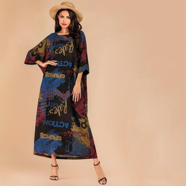 Batwing Sleeve Letter Print Longline Dress