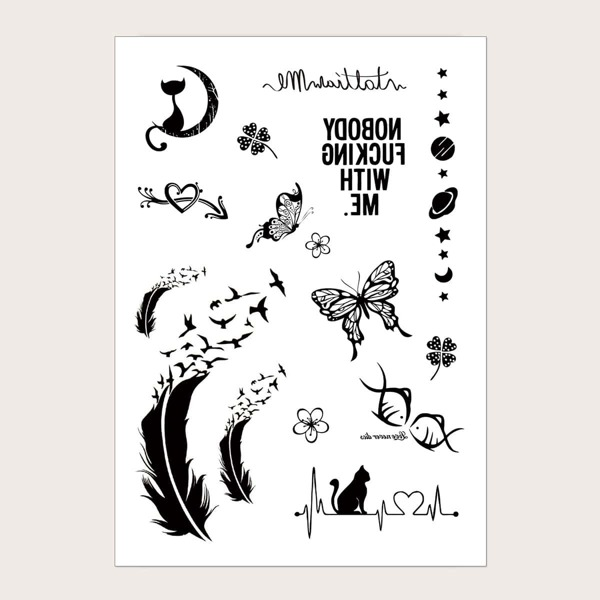 Butterfly & Feather Pattern Tattoo Sticker 1sheet, Black