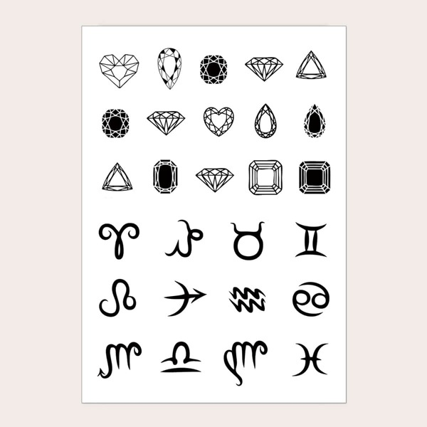 Gemstone Pattern Tattoo Sticker 1sheet, Black
