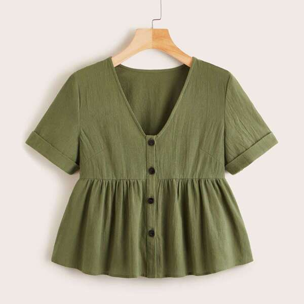 Plus Button Front Ruffle Hem Smock Blouse