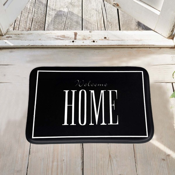 Slogan Print Floor Mat, Black and white