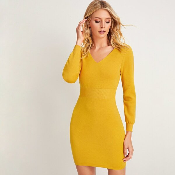 Solid Sheath V-neck Sweater Dress