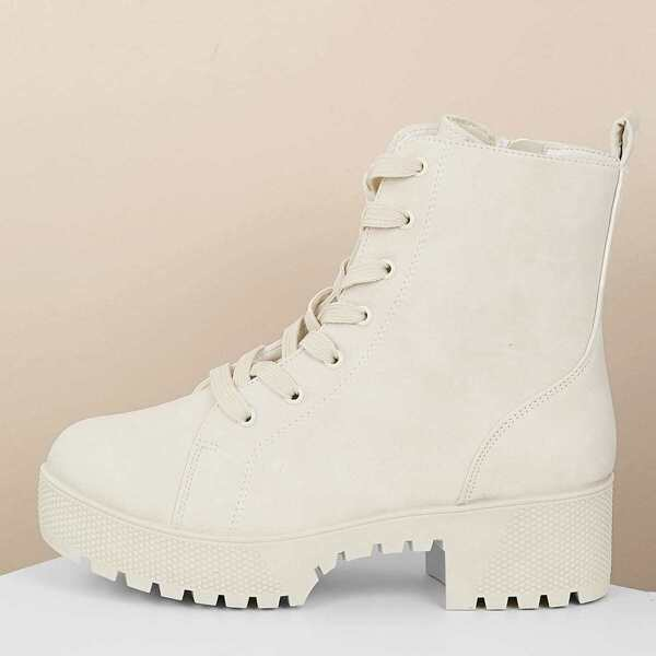 Lace Up Lug Sole Platform Combat Boots, White