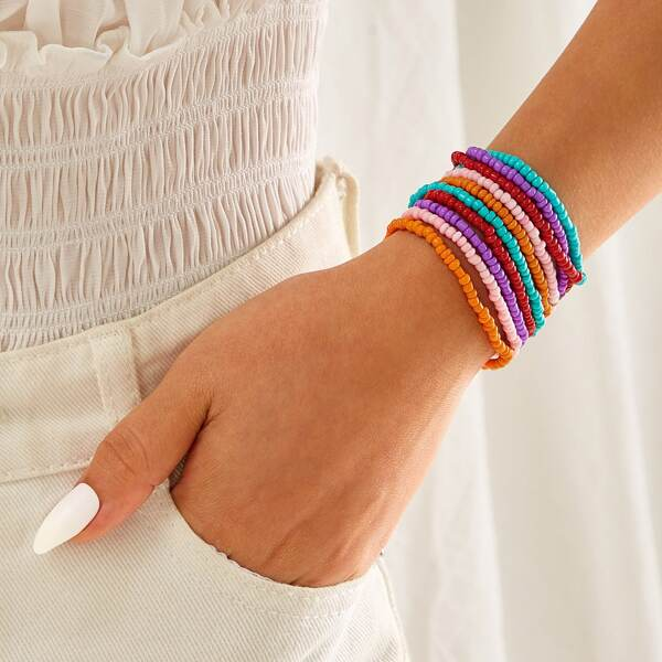 Colorful Layered Beaded Bracelet 1pc, Multicolor