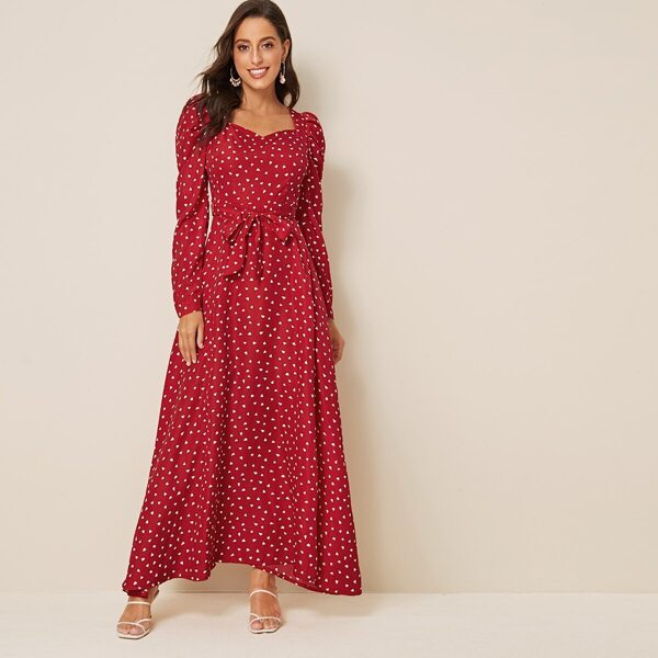 Heart Print Sweetheart Neck Belted Dress
