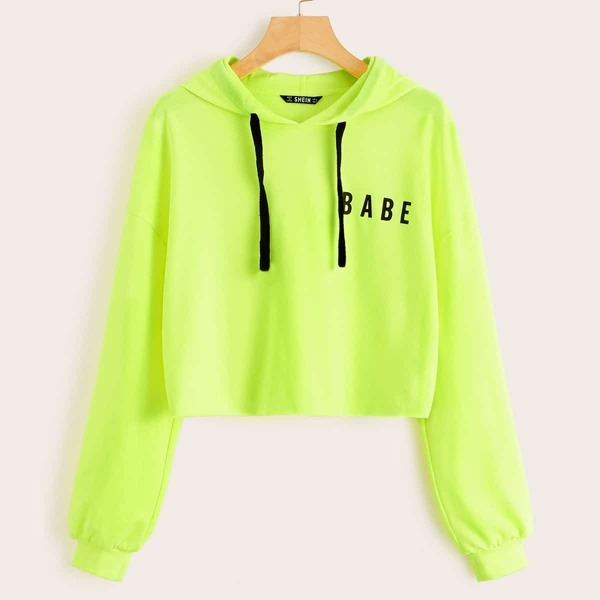 Neon Lime Letter Graphic Drawstring Hoodie, Green bright