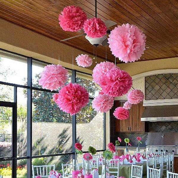 Decorative Tissue Paper Pom Poms Flower Ball 6pcs, Pink