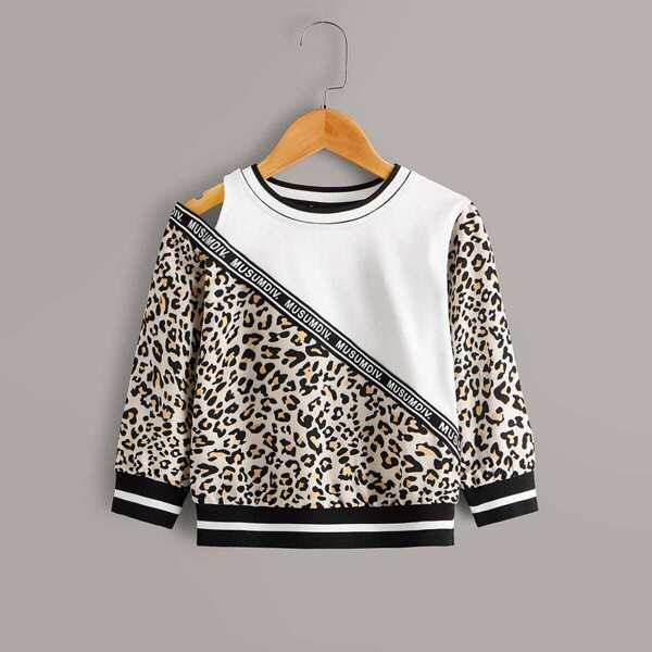 Toddler Girls Contrast Leopard Panel Letter Tape Sweatshirt, Multicolor