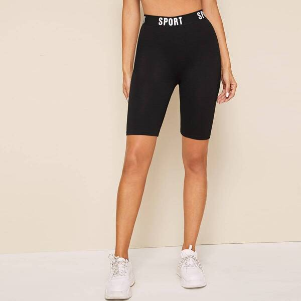 Letter Tape Waist Cycling Shorts, Black