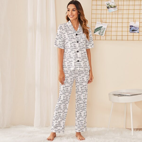 Letter Print Button-up Pajama Set