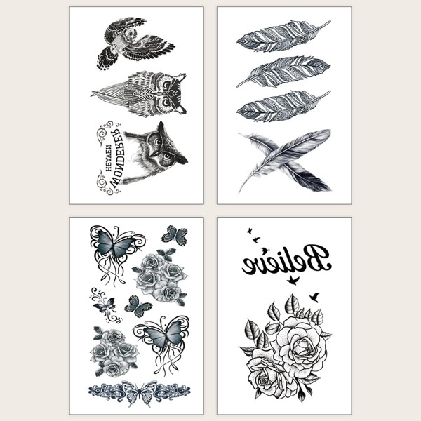 Owl & Butterfly Pattern Tattoo Sticker 4pcs