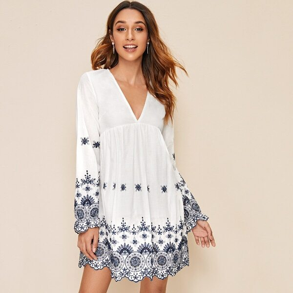 Deep V-neck Floral Embroidered Dress, White