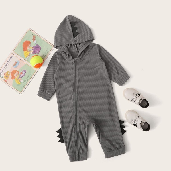 Baby Boy Oblique Zipper Patched Hooded Jumpsuit, Grey