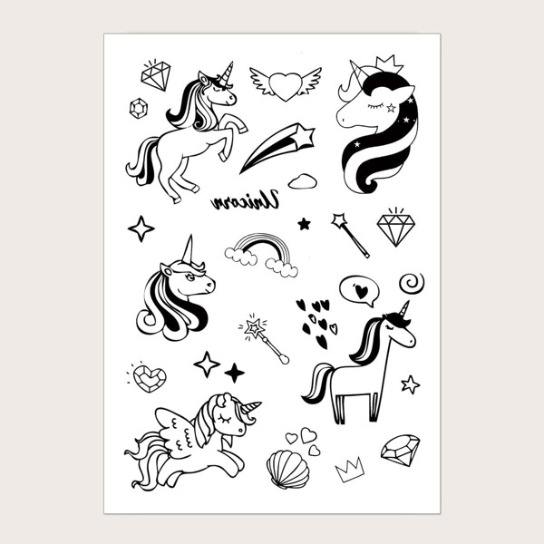Unicorn Pattern Tattoo Sticker 1sheet