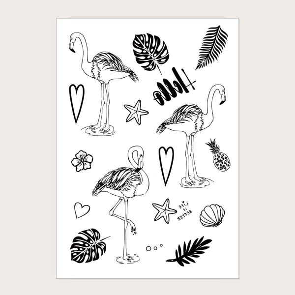 Flamingos Pattern Tattoo Sticker 1sheet
