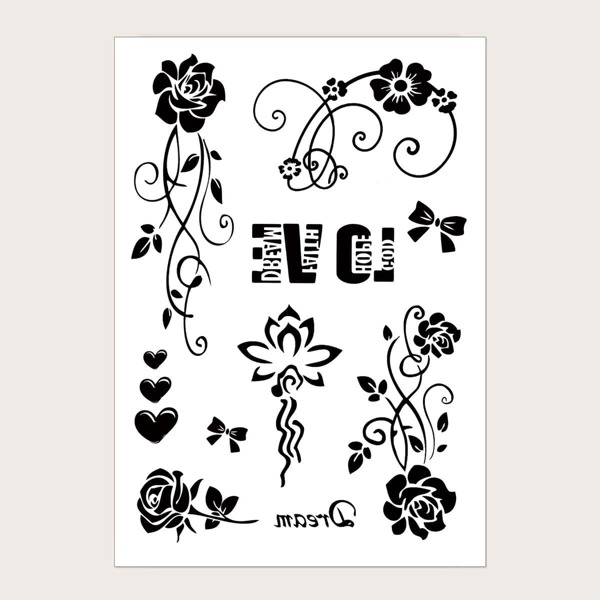 Flower Pattern Tattoo Sticker 1sheet