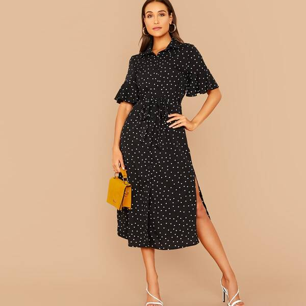 Dot Print Ruffle Cuff Split Hem Belted Shirt Dress