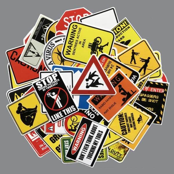 Funny Warning Sign Print Sticker 50pcs, Multicolor
