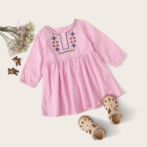 Baby Girl Tribal Embroidery Striped Smock Dress, Pink