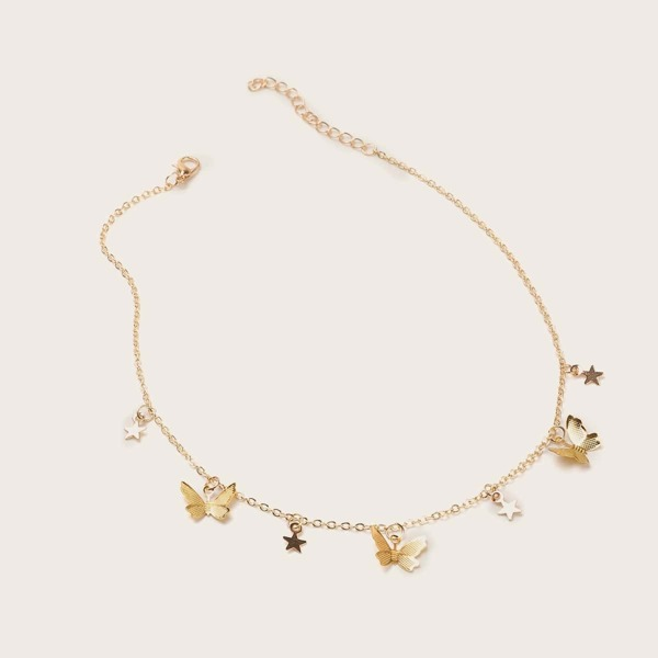 Toddler Girls Butterfly & Star Charm Necklace 1pc, Gold